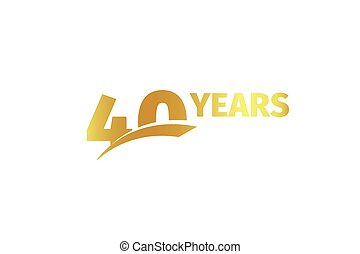 Isolated golden color number 40 with word years icon on white background, birthday anniversary greeting card element vector illustration.