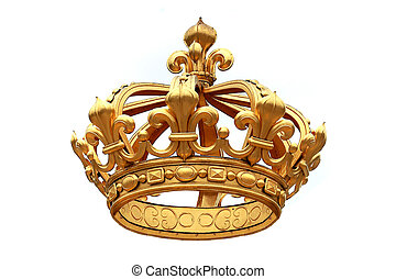 golden crown - Isolated golden crown to Versailles castle. ...