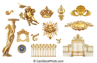 golden detail - Isolated golden detail to Versailles castle...