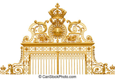 Isolated golden gate fragment of Versailles king's palace near Paris, France
