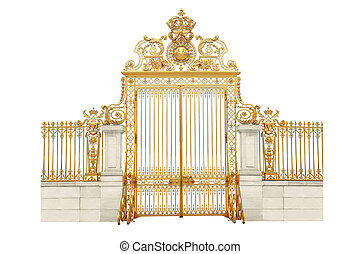 golden gates - Isolated golden gates to Versailles castle. ...