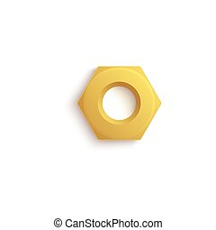 Isolated golden hex nut with realistic stainless steel texture