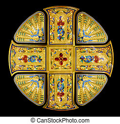Isolated golden Holy cross decorated with gems
