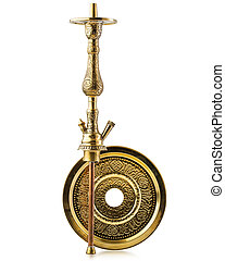 handmade arabian water pipe or hookah parts with graven gold pattern