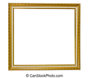Isolated golden wooden Photo Frame