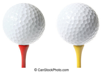 Isolated Golf Balls - Two isolated gold ballson different...