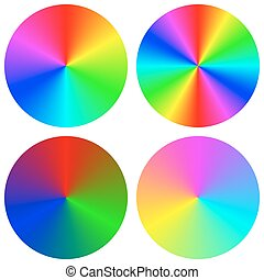 Isolated gradient rainbow circle design set