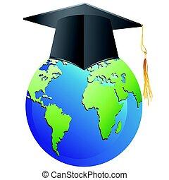 graduation cap on earth