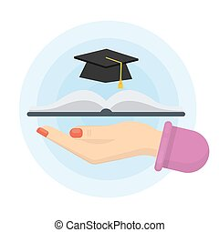 Isolated graduation hat. - Isolated graduation hat with...