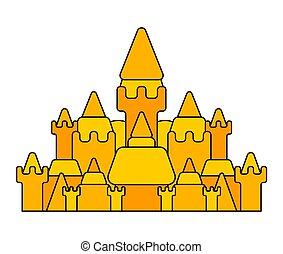 isolated., grand, illustration, sable, vecteur, plage château, bâtiment.