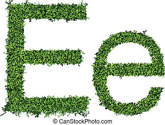 Isolated grass alphabet on white background