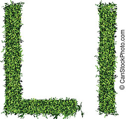 Isolated grass alphabet on white background