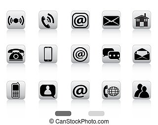 gray contact buttons icon set