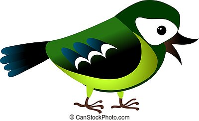 Isolated green cartoon titmouse on white background. Standing frendly tomtit. Wild bird funny personage.