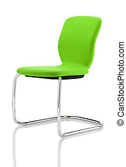 isolated green chair on white