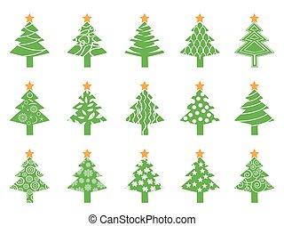 green Christmas tree icons set