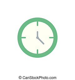 Isolated green clock icon flat design