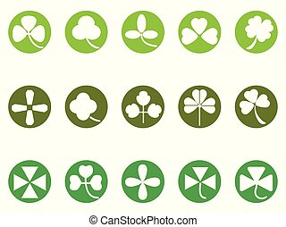 green clover round button icons set