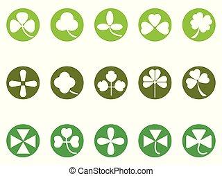 green clover round button icons set