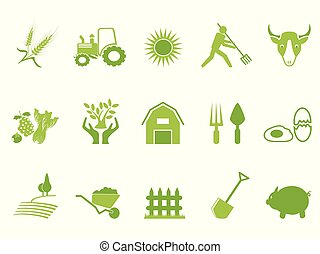 green color farm icon set