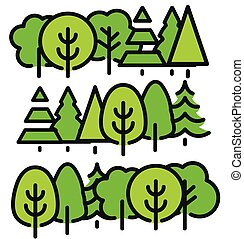 Isolated green color trees in lineart style set, forest,park and garden flat vector illustrations collection