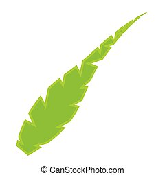 Isolated green feather icon
