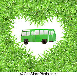 isolated green heart grass photo frame with   car paper