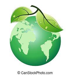 green leaf earth icon