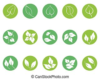 green leaf round button icons set