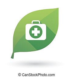 Isolated green leaf with  a first aid kit icon
