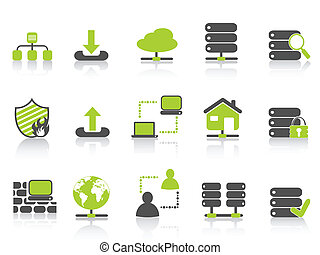 green network server hosting icons - isolated green network...