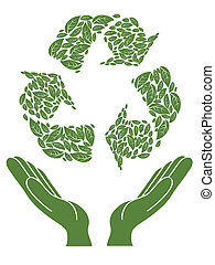 isolated green recycling sign above hand on white background