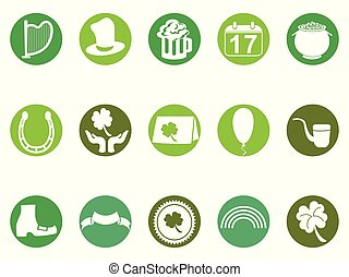 green round st patrick's day button icons set