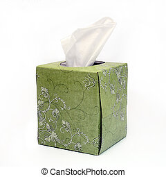 Green Box of Tissues on White Background
