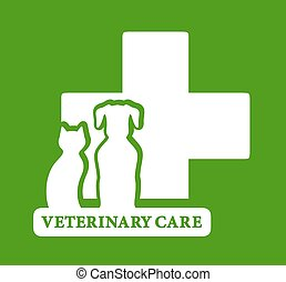 green veterinary care icon - isolated green veterinary care ...
