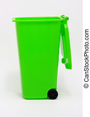 Isolated green waste bin on white background