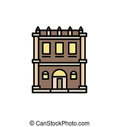 Isolated grey color low-rise municipal house in lineart style icon, element of urban architectural building vector illustration.