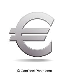 Isolated grey euro sign on white background.