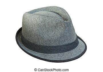 isolated grey hat with ribbon