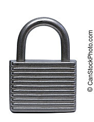 isolated grey padlock over white