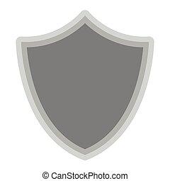 Isolated grey shield symbol on white background