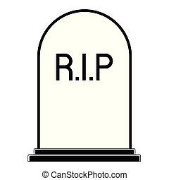 Isolated grey tombstone icon
