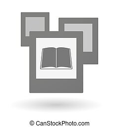 Isolated group of photos with a book