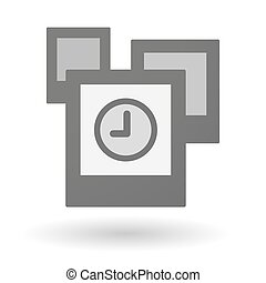 Isolated group of photos with a clock