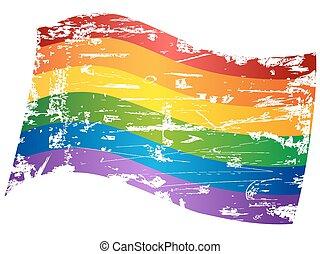 grungy Rainbow Gay Pride Flag
