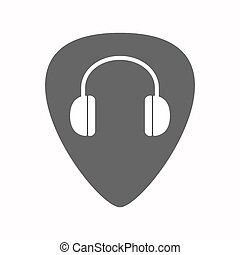 Isolated guitar plectrum with a earphones