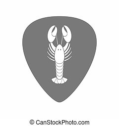 Isolated guitar plectrum with a lobster seafood