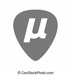 Isolated guitar plectrum with a micro sign, mu greek letter...