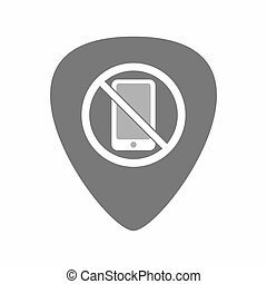 Isolated guitar plectrum with  a phone  in a not allowed signal