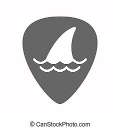 Isolated guitar plectrum with a shark fin